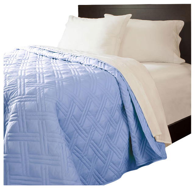 Lavish Home Solid Color Bed Quilt Full Queen Blue