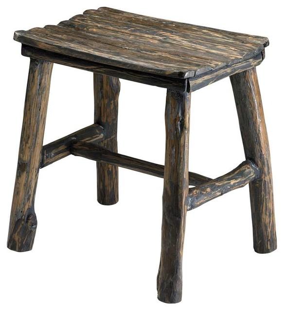 Cyan design vintage wooden stool pecan rustic accent