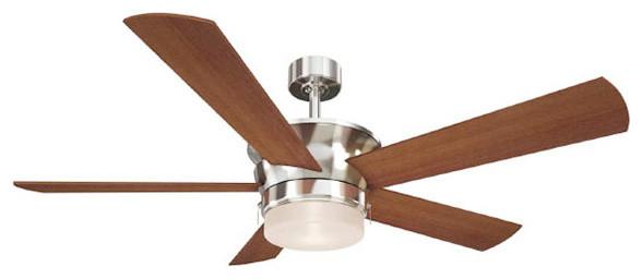 Canarm Capital 52 Ceiling Fan, 5 Maple Blades, Brushed Nickel Finish.