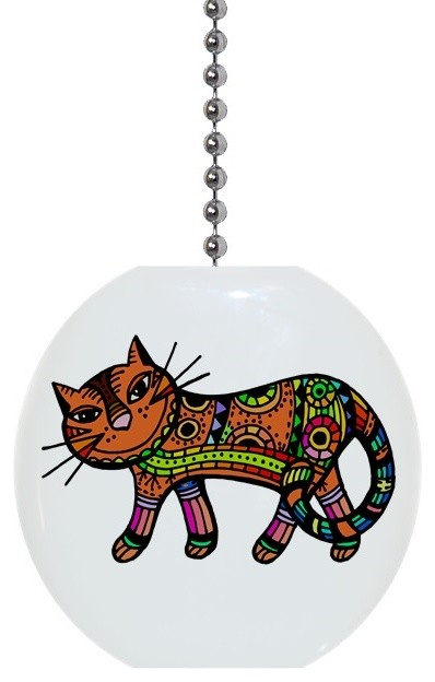 Orange Abstract Cat Ceiling Fan Pull Contemporary