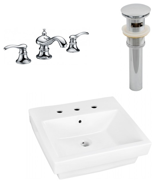 "Above Counter Vessel Set For 3-Hole 8"" Center Faucet, White, 20.5""."