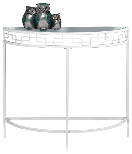 Monarch Specialties I 2112 36 Inch Wide Gl Top Metal Hall Console Table