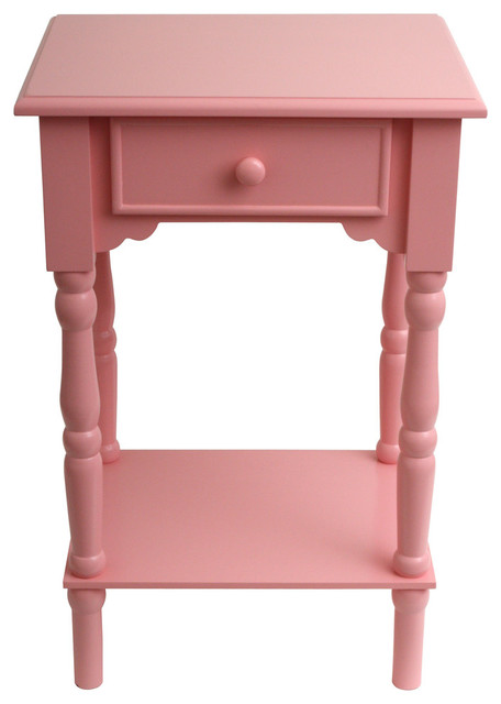 Elegant Wooden Accent Table, Pink.
