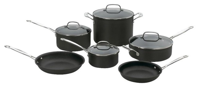 Cuisinart Chef&x27;s Classic Hard Anodized Cookware Set, 10-Piece.