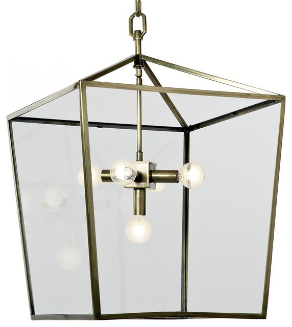 barth industrial loft brass glass pentagon pendant lantern industrial