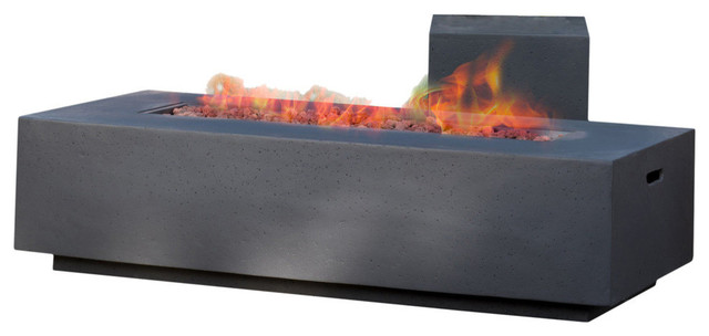 GDF Studio Jaxon 50,000BTU Outdoor Rectangular Fire Table with Tank Holder, Dark