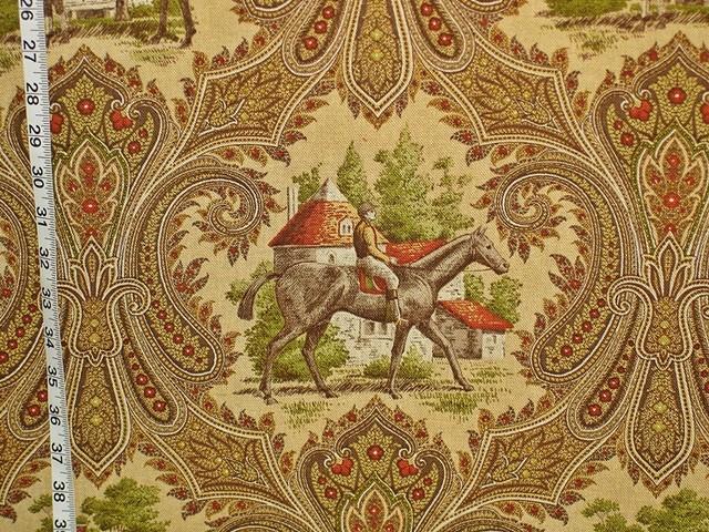 Horse fabric jockey brown paisley toile, Standard Cut