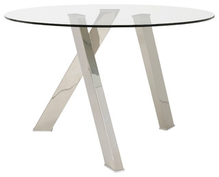 Frederick Dining Table, Clear Glass/Brushed Stainless Steel