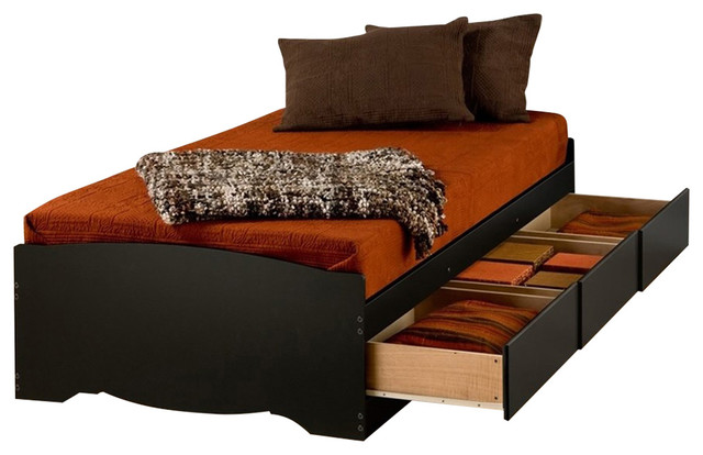 Prepac Black Twin Xl Mate&x27;s Platform Storage Bed With 3-Drawer.