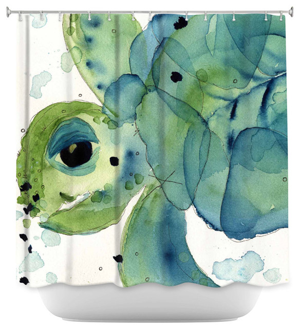 DiaNoche Designs Shower Curtain By Dawn Derman Sea Turtle Beach Style Shower  Curtains