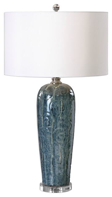 Uttermost Maira Blue Ceramic Table Lamp.
