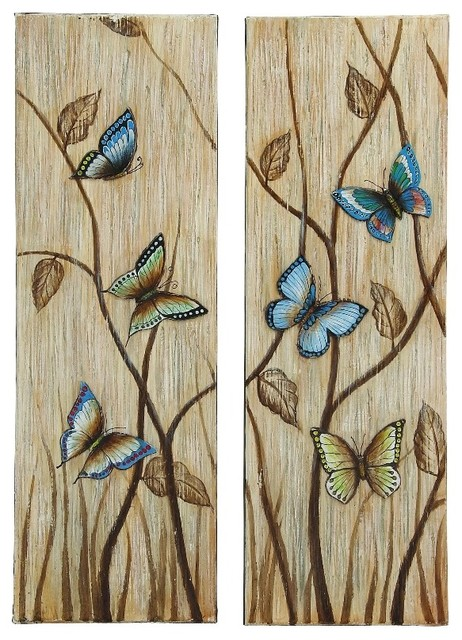 Butterfly set of 2 canvas wall art blue beige brown family for Blue and brown wall art