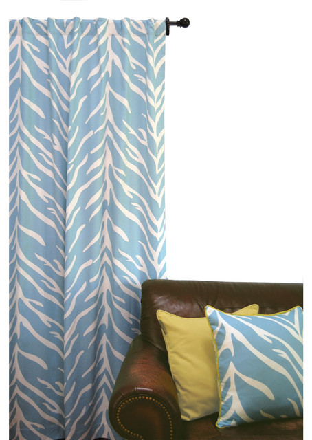 Zebra Print Window Curtain, Cream and Turquoise - Curtains - by ez ...