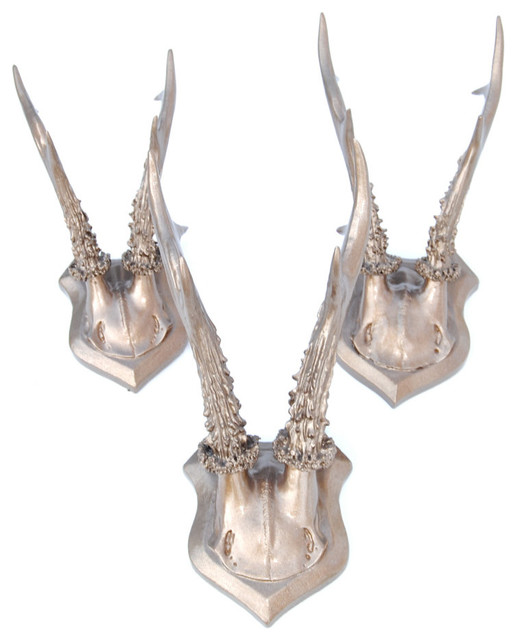 Antler Wall Decor Part - 19: Faux Roe Deer Antlers Collection Wall Decor, Bronze - Rustic - Wall  Sculptures - by Near and Deer