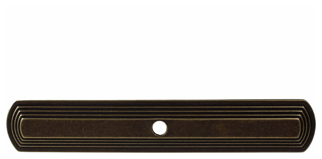 "6"" Long Narrow Rounded Rectangle Cabinet Backplate, Antique Brass"
