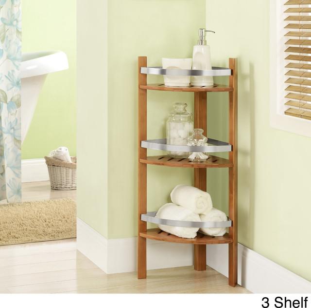 Altra Bamboo Bathroom Shelves Corner Tower - Contemporary - Bathroom ...