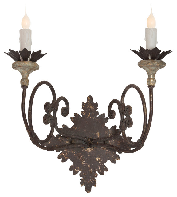 Nimes French Country Curled Iron 2 Light Wall Sconce Farmhouse Sconces By Kathy Kuo Home
