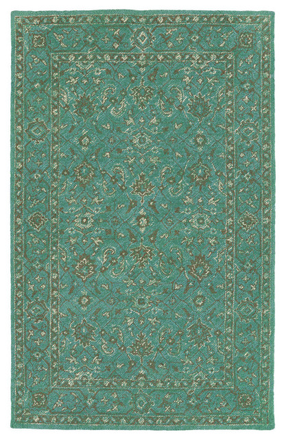 Kaleen Hand-Tufted Weathered Polyester Rug, Turquoise, 8&x27;x10&x27;.