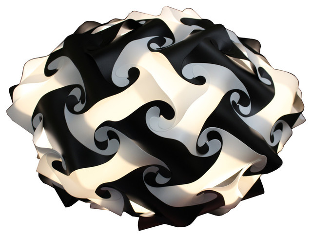 Kaleido Lamps 80 Element Disc Shape Ceiling Light, Black, Medium.
