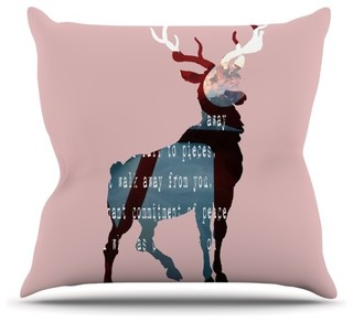 "Suzanne Carter ""Oh Deer"" Throw Pillow, Outdoor, 26""x26"""
