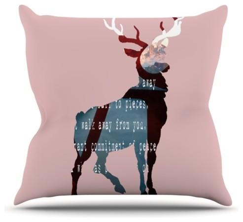 "Suzanne Carter ""Oh Deer"" Throw Pillow, Outdoor, 26""x26"""