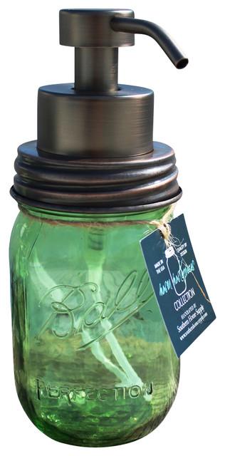 Mason Jar Foaming Soap Dispenser, Green Jar, Oil-Rubbed Bronze