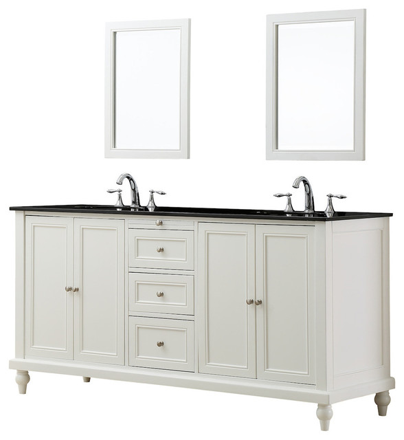 "Bathroom Vanities Austin classic 70"" vanity, pearl white, black granite top - transitional"