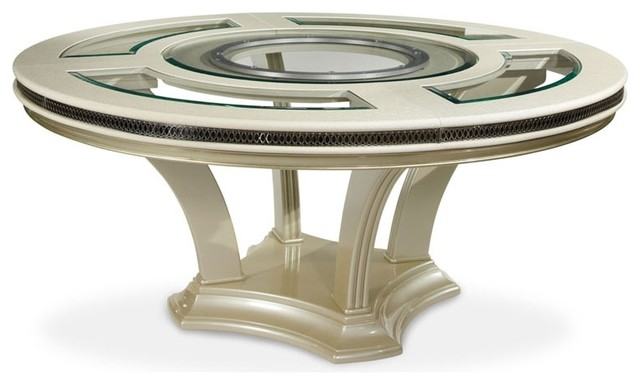 Hollywood Swank Round Glass Top Dining Table Contemporary - 72 round glass dining table