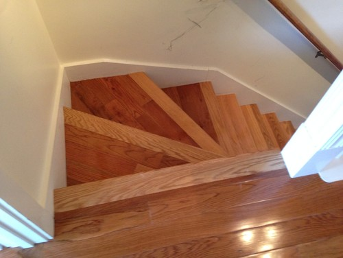 Hardwood Stairs Mismatched Wood Problem Need Ideas To Fix