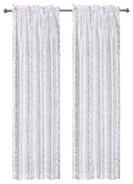 """Birchhill Semi Sheer Fabric Curtain, 50""""x84"""", White/Gray"""