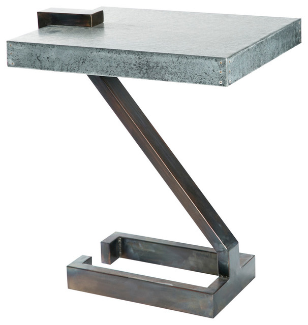Industrial Handcrafted Square Zinc Top Accent Table.