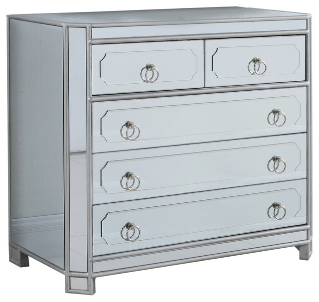 Mya Silver Mirrored Hall Chest Transitional Dressers By Furniture Import Export Inc