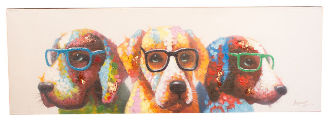 """""""colorful Dogs With Glasses"""" Oil Painting."""