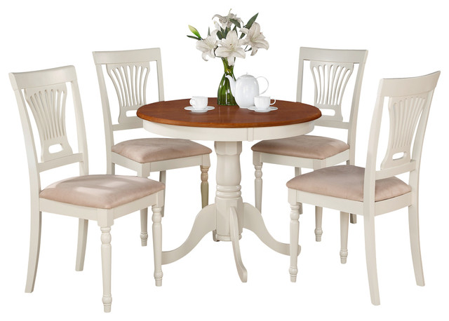 3 Piece Kitchen Nook Dining Set Round Table Plus 2 Chairs For Dining Room
