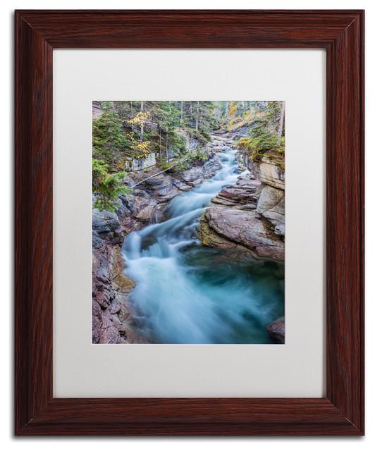 Pierre Leclerc 'Maligne River' Matted Framed Art, Wood Frame, White, 14x11 by Trademark Fine Art