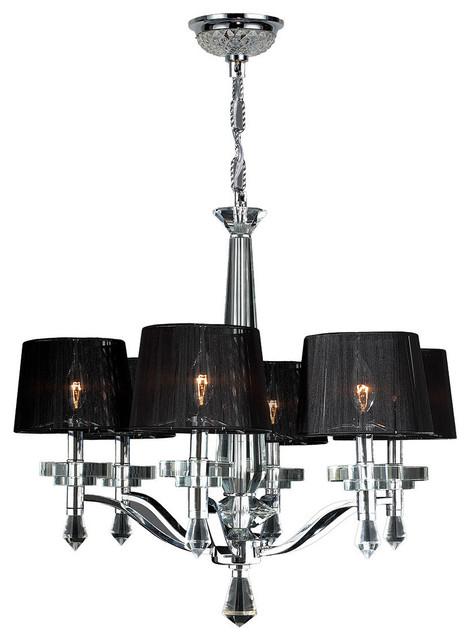 Elegant 6 light chrome crystal chandelier black string shade elegant 6 light chrome crystal chandelier black string shade aloadofball Images