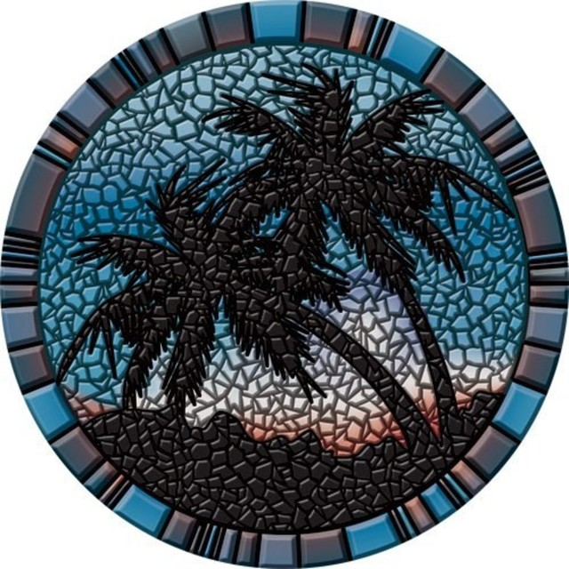 Drop-In Palm Trees Vinyl Swimming Pool Mat - Tropical - Accent Trim ...