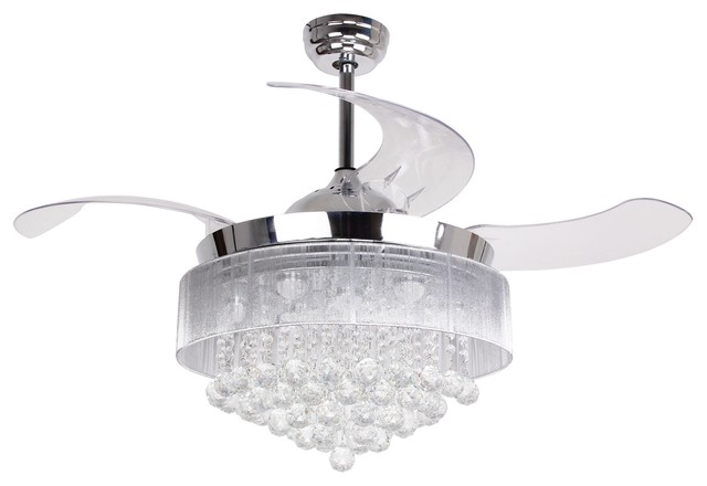 """Crystal Folding Blades Ceiling Fan With Remote, 46"""", White Light, Chrome"""