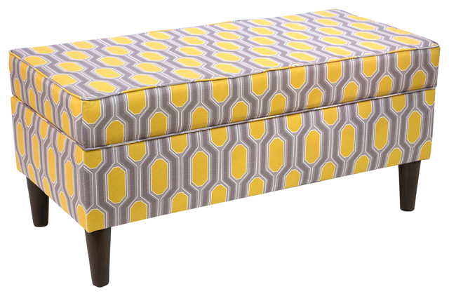 Storage Bench, Hexagon Yellow - Transitional - Accent And Storage Benches - by Skyline Furniture ...