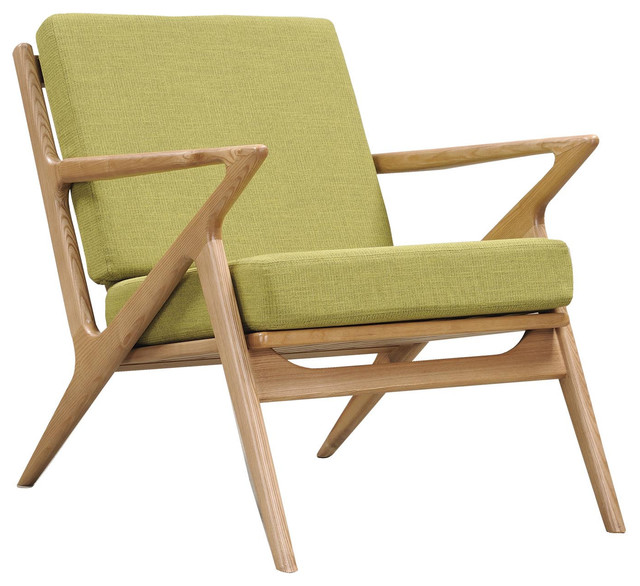 Avocado Green Zain Chair Natural Midcentury Armchairs