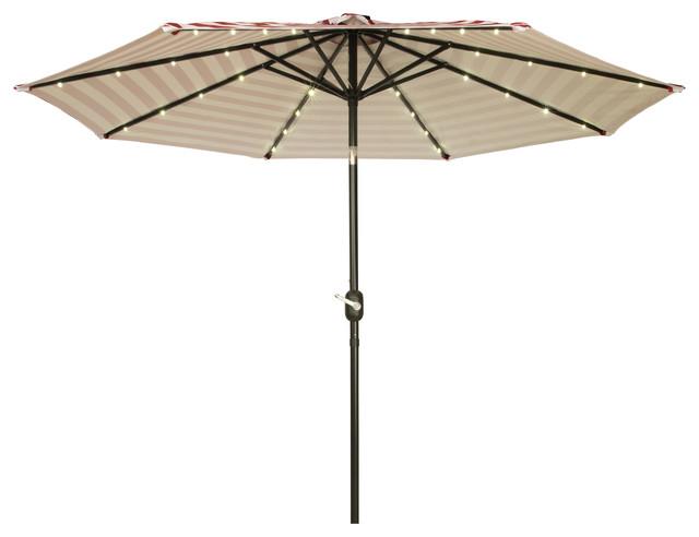 solar powered led lighted patio umbrella 9 39 contemporary outdoor. Black Bedroom Furniture Sets. Home Design Ideas