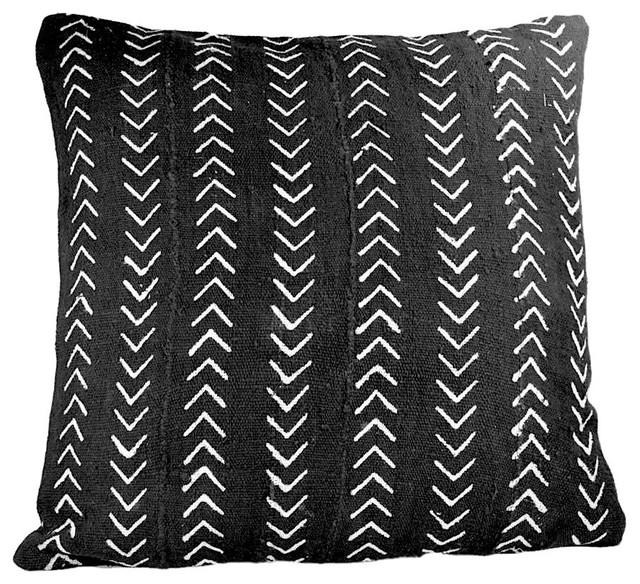 White Chevron Black Mudcloth Pillow