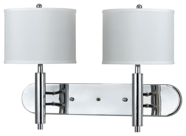 60W Wall Lamp with 3 Way Push Switch, Chrome Finish, White Shade - Wall Sconces - by Cal Lighting