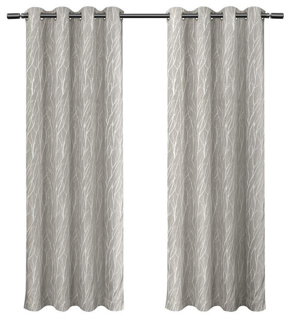 Forest Hill Woven Room Darkening Grommet Curtain Panels