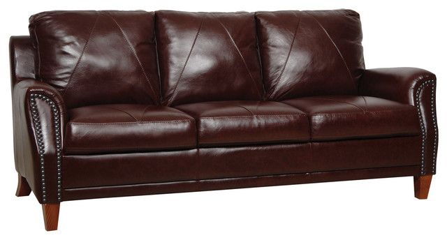 Austin 3 Seat Italian Leather Sofa, Sienna Brown - Transitional ...