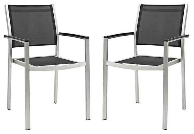 Modway Shore Dining Chairs Outdoor Patio Aluminum, Set Of 2.