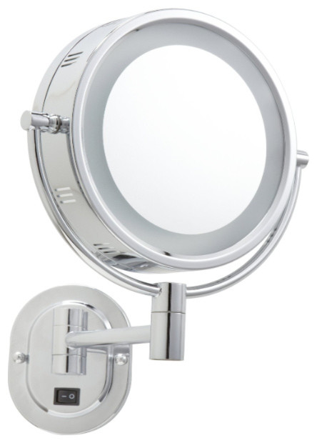 Lighted Wall Mount Makeup Mirror jerdon hl165cd hard-wired 8-inch two-sided swivel halo lighted