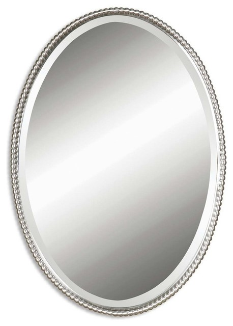 Beaded Oval Vanity Wall Mirror Thin Nickel Metal Frame
