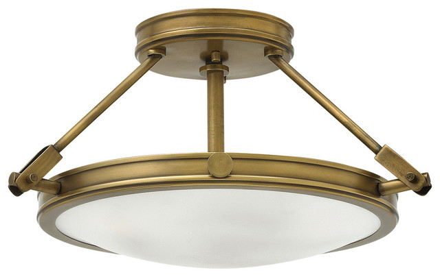 Hinkley Lighting Collier Heritage Brass Semi-Flush Mount Fixture.