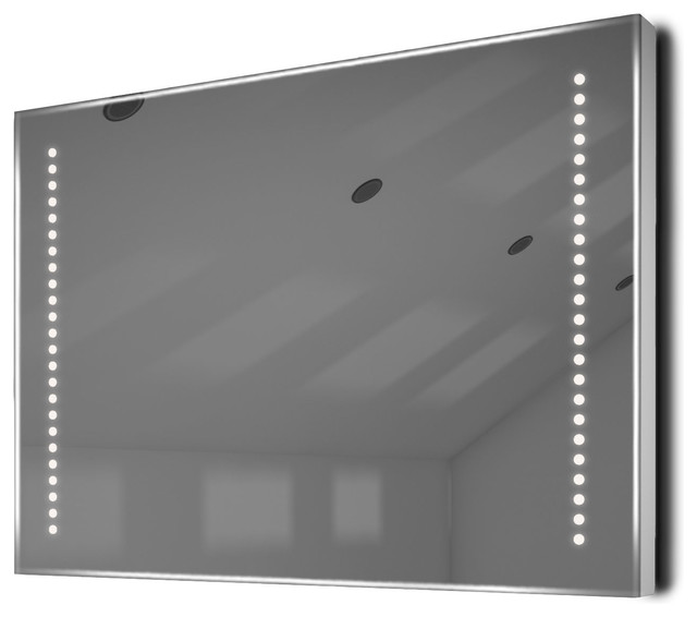 """Wide And Shaver Bathroom Mirror With Demister And Led Side Lights, 30""""x20""""."""
